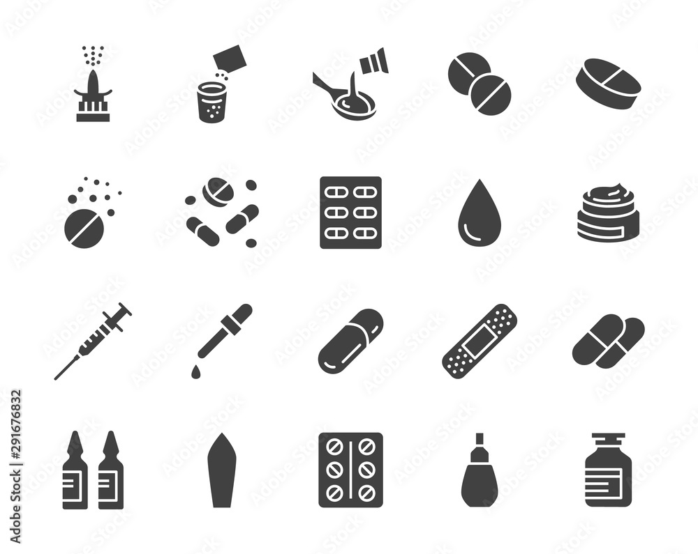 Fototapeta Drug, Pharmacy Medical Silhouette Flat Icons. Vector Glyph Illustration Included Icon as Effervescent Pills, Cough Syrup Bottle, Gel, Antibiotic Capsule and other Pharmaceutical Pictogram