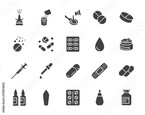 Obraz Drug, Pharmacy Medical Silhouette Flat Icons. Vector Glyph Illustration Included Icon as Effervescent Pills, Cough Syrup Bottle, Gel, Antibiotic Capsule and other Pharmaceutical Pictogram - fototapety do salonu