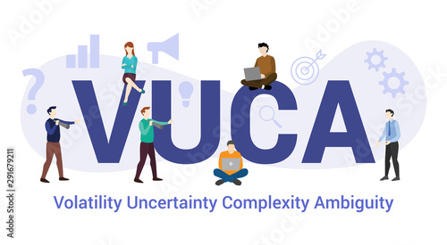 Photo vuca volatility uncertainty complexity ambiguity concept with big word or text a