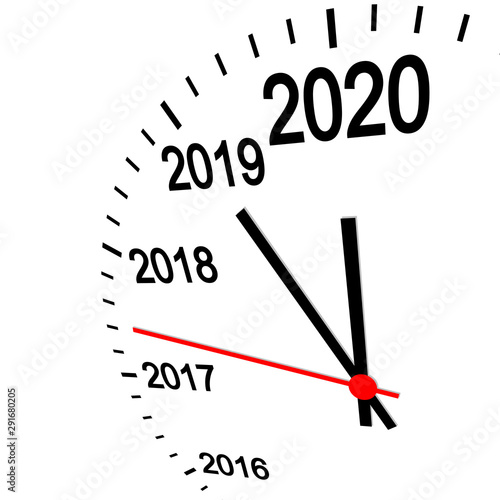 Fotografie, Obraz new year 2020 clock