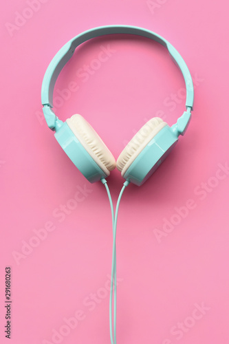 close up of headphones on pink background - 291680263