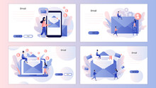 Email And Messaging, Email Service, Email Marketing. Screen Template For Mobile Smart Phone, Landing Page, Template, Ui, Web, Mobile App, Poster, Banner, Flyer. Modern Flat Cartoon Style.  Vector
