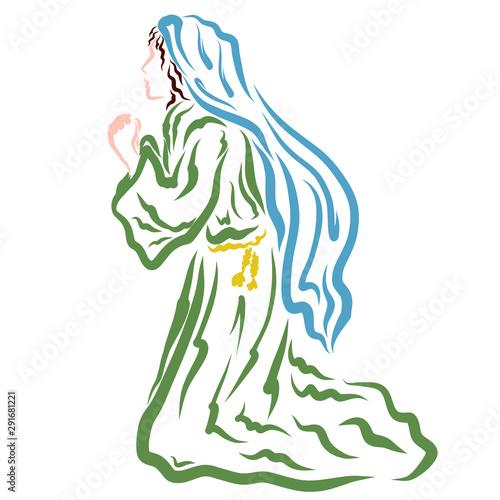 Photo Biblical woman praying kneeling, Virgin Mary praying to God