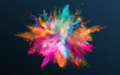 Colored powder explosion on gradient dark background. Freeze motion.