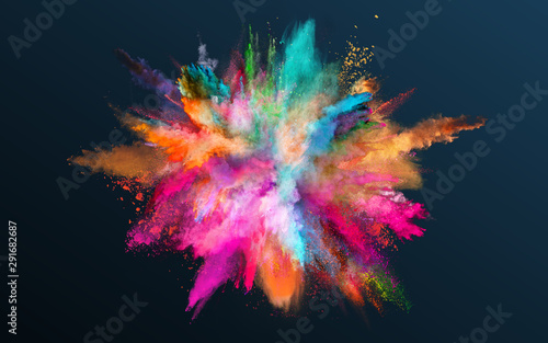 Obraz Colored powder explosion on gradient dark background. Freeze motion. - fototapety do salonu