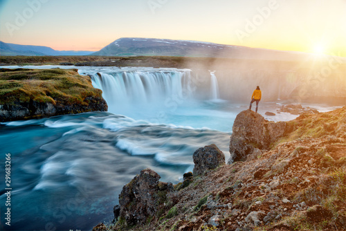 amazing Godafoss waterfall in Iceland during sunset, Europe Wallpaper Mural