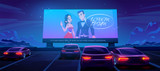 Fototapeta Miasto - Car cinema. Drive-in theater with automobiles stand in open air parking at night. Large outdoor screen with love movie scene glowing in darkness on starry sky background. Cartoon vector illustration