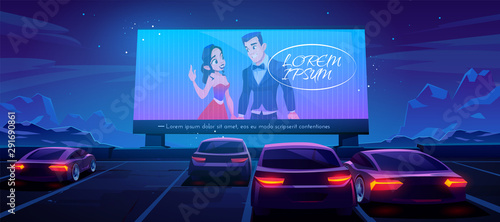 Garden Poster Cartoon cars Car cinema. Drive-in theater with automobiles stand in open air parking at night. Large outdoor screen with love movie scene glowing in darkness on starry sky background. Cartoon vector illustration