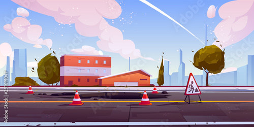 Road under construction cityscape street view with hole in asphalt pavement fenced with traffic cones and warning sign. Engineering works on roadway town skyline background Cartoon vector illustration