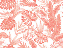 Living Coral Tropical Leaves Flowers Seamless White Background