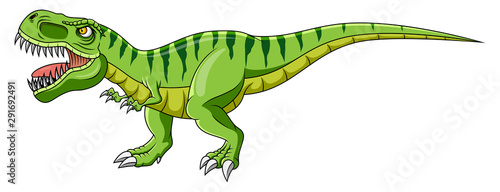 Cartoon green dinosaur on white background #291692491