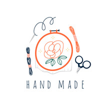 Various Embroidery Tools. Embroidery Hoop, Scissors, Threads, Needle. Trendy Vector Illustration. Pre-made Logo For Your Design. Isolated On White Background. Cartoon Style. Flat Design
