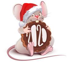 Funny Cartoon Santa Mouse Symb...