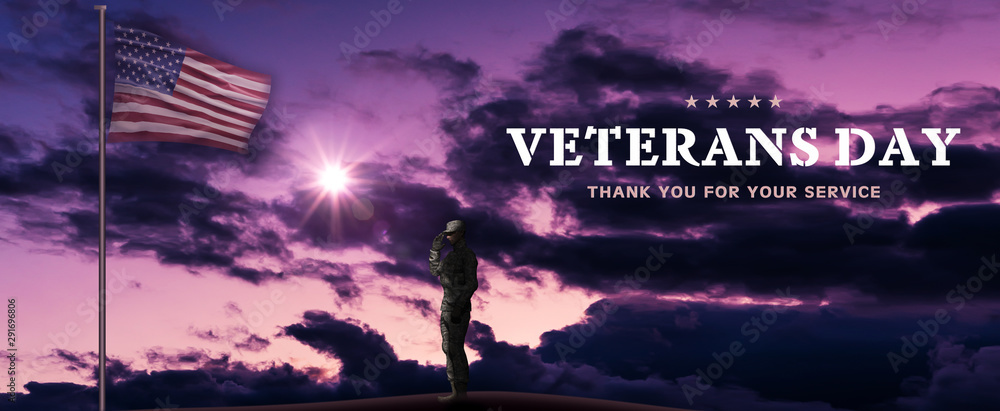 Fototapety, obrazy: American National Holiday. US Flag background with American stars, stripes and national colors. Soldiers. Text: VETERANS DAY - Thank you for your service