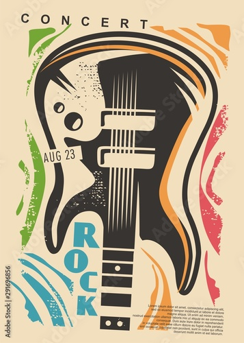 Foto auf Leinwand Logo Electric guitar and colorful shapes - rock concert poster design. Music event flyer idea with guitar graphic. Vector guitar illustration.