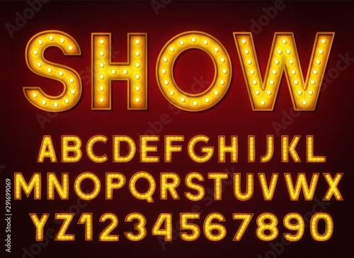 Cuadros en Lienzo  3d light bulb alphabet with numbers on a dark background