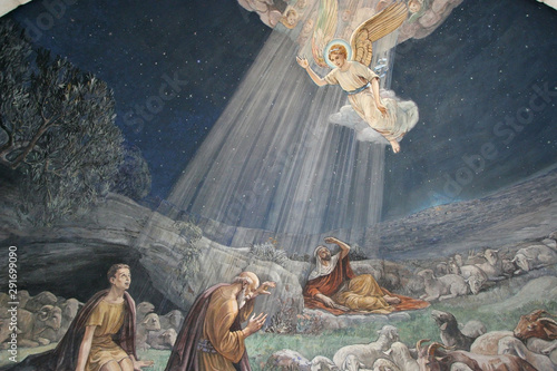 Valokuvatapetti Angel of the Lord visited the shepherds and informed them of Jesus' birth, Churc