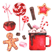 Hand Painted Watercolor Illustration Of Cup Of Hot Chocolate, Apple With Glaze, Marshmallow, Cookies, Lollipops And Cinnamon Isolated On White Background. Christmas Sweets Set