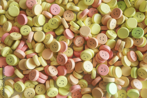 Colorful pills with funny faces Canvas Print