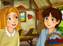 Cartoon Scene With Old Kitchen In Farm House With Happy Woman And Girl And Boy - Illustration For Children