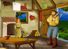 Cartoon Scene With Old Kitchen In Farm House With Happy Father And Daughter - Illustration For Children