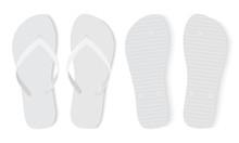 White Flip Flops Isolated On White Background Mock Up