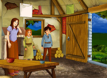 Cartoon Scene With Old Kitchen In Farm House With Happy Woman And Girl And Boy And Mother - Illustration For Children