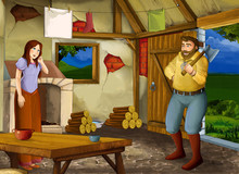Cartoon Scene With Old Kitchen In Farm House With Happy Woman And Man Husband And Wife - Illustration For Children