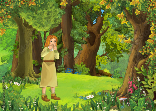 cartoon scene with meadow in the forest and young girl illustration for children #291704074