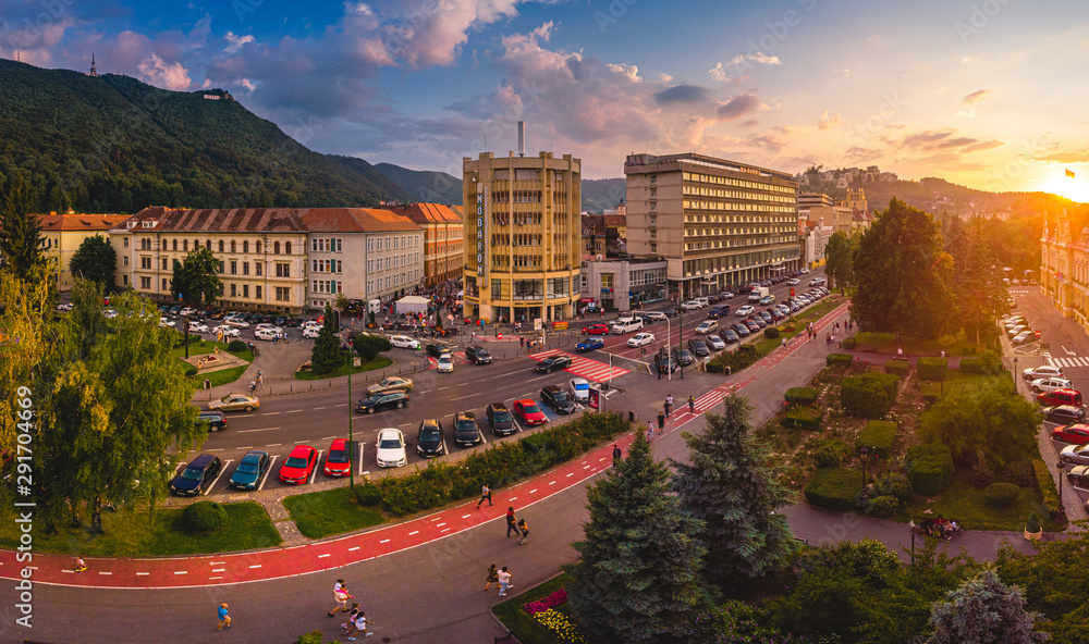 Fototapeta Brasov cityscape, panoramic and aerial view over medieval architecture of Brasov town from Transylvania, Romania