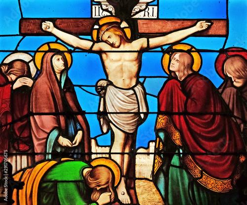 12th Stations of the Cross, Jesus dies on the cross, stained glass windows in th Wallpaper Mural