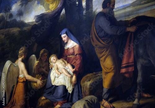 Obraz na plátně  Flight into Egypt, altarpiece in the Saint Nicholas des Champs Church, Paris, Fr