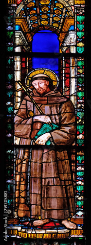 Saint Francis, stained glass window in the Basilica di Santa Croce (Basilica of the Holy Cross) - famous Franciscan church in Florence, Italy #291705881