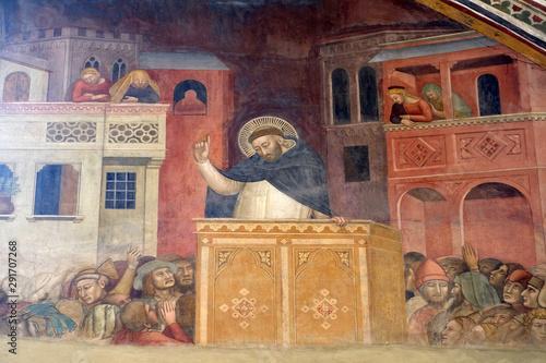 Preaching of Saint Peter, fresco by Andrea di Bonaiuto in Spanish Chapel, Santa Canvas Print