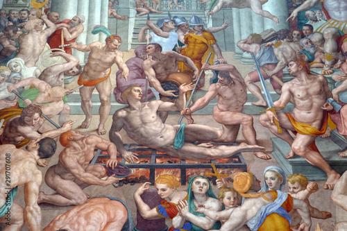 Photo Martyrdom of Saint Lawrence, 1569, fresco by Agnolo Bronzino in the Basilica di