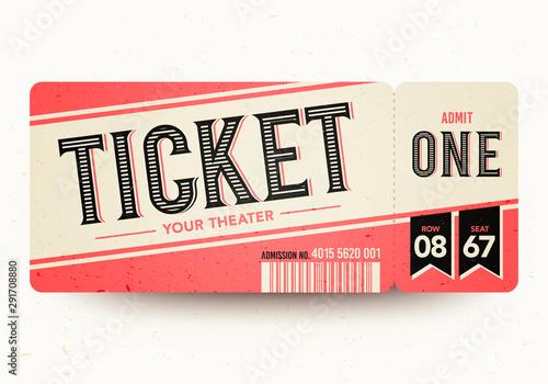 Photo Vector Illustration Vintage Retro Cinema Admit One Tickets.
