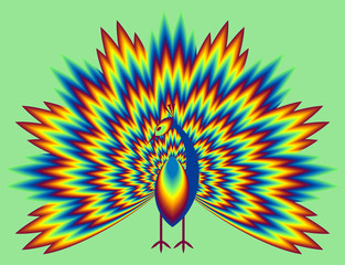 Peacock with pulsing fiery tail. Optical illusion of movement.