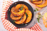 grilled pumpkin with herb and nuts - 291709619