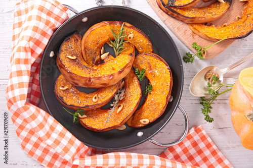 grilled pumpkin with herb and nuts
