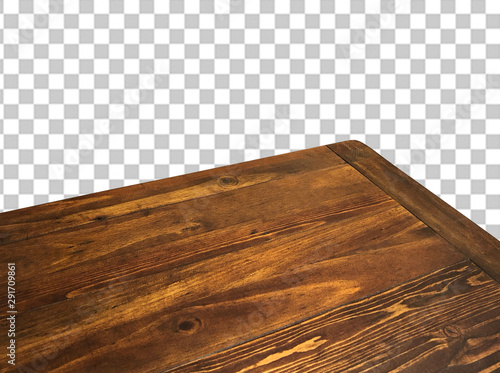 Obraz na plátně Perspective view of wood or wooden table corner on checkered background includin