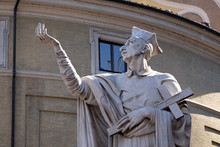 Statue Of Saint Charles Borromeo By Attilio Selva, Basilica Dei Santi Ambrogio E Carlo Al Corso, Rome, Italy