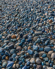Many Colored Pebbles On A Beach At Low Tide