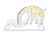 Not Found 404 Page, Giraffe Hid His Head In The Phone Screen Trying To Find Something. Searching, Research, Web Surfing, Search For An Answer To A Question Icon Concept. Flat Line Isolated Vector.