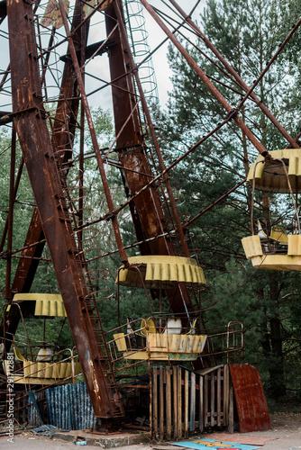 metallic and rusty ferris wheel in amusement park in chernobyl