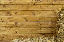 Rustic Simple Frame Work Wallpaper Picture Of Wooden Deck Wall Background And Stack Of Hay In Cornet, Copy Space For Text