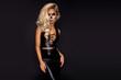 Leinwandbild Motiv Sexy witch with Halloween skeleton make up - Image