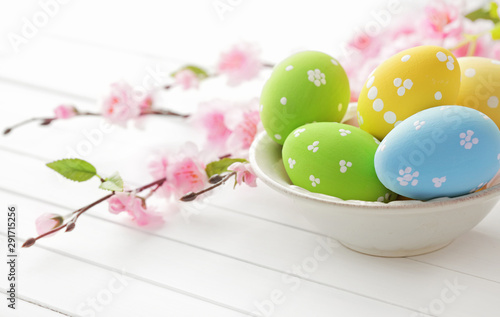 easter eggs and spring flowers Canvas Print