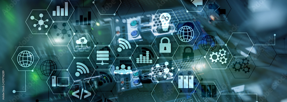Fototapeta ICT - information and telecommunication technology and IOT - internet of things concepts. Diagrams with icons on server room backgrounds