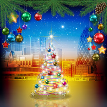 Celebration Greeting With Cityscape Of London Christmas Tree And Decorations
