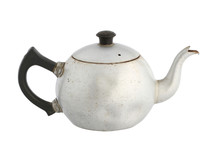 Vintage Chinese Teapot Aluminum Kettle (with Clipping Path) Isolated On White Background